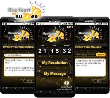 Get a Jump on the New Year: Iconosys Releases New Years Buzzer (Android App)– to Motivate You in 2011!!
