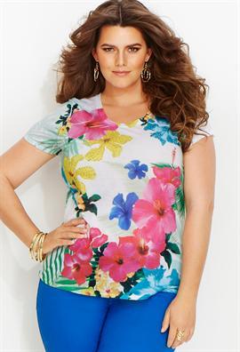 bright multi floral top