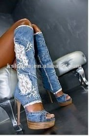2013 hot selling free shipping over the knee lace jean high heel boots women