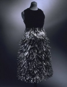 Givenchy Feathers. Machine-sewn velvet and satin, with dyed black feathers glued into place (1968)