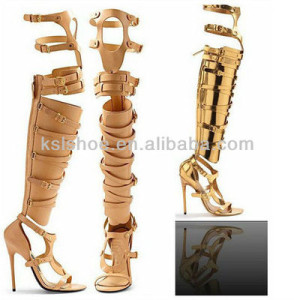 2013 sexy top leather gold high heel shoes woman best design summer party shoes