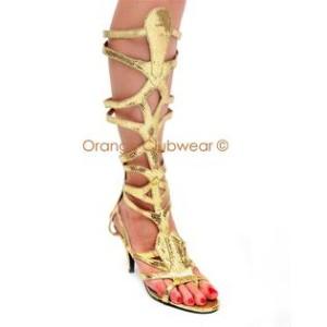 Pleaser Goddess-12 Goddess Cleopatra Egyptian Halloween Costume Sandals- Orange Clubwear Photo