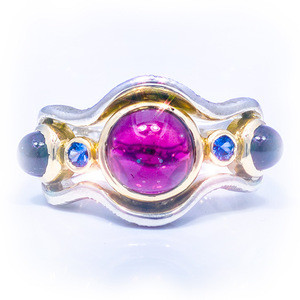 Jardins de la Mer Rings – Handmade in 18k Gold and Argentium – Rhodolite
