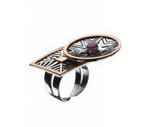 Azza Fahmy Silver/Gold Plates Ring Pharaonic Collection