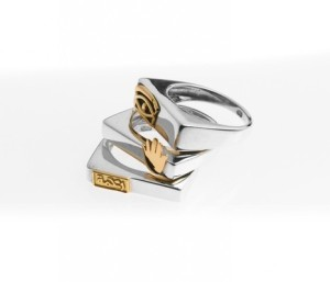Azza Fahmy Silver Ring with Golden Eye