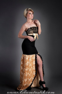 Black and Gold Rose satin and lace mermaid style tulle prom dress