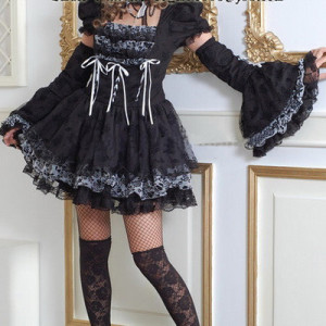 Little Black Short Sleeved Goth Punk Fashion Prom Party Dress 2 Piece