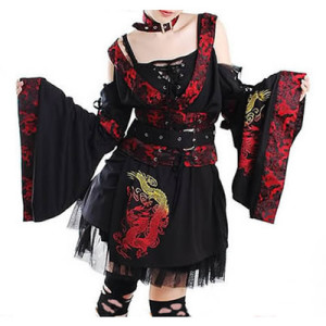 Little Black Tie Punk Rock Gothic Emo Kimono Corset Prom Dress