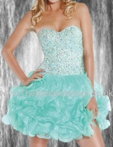 Organza Beading Ruffle Sweetheart Dropped Waist Prom Dress