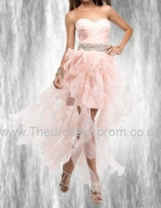 Ruffled A-line Sweetheart High-Low Organza Prom Dress with Pleat and Beading