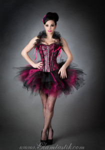 Hot Pink and Black leather pvc Burlesque tutu Corset Prom Dress with Bolero