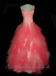 Spaghetti Watermelon Beading Tull Gothic Prom Dresses