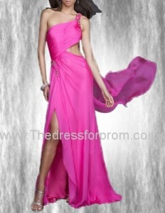 Stylish A-line One Shoulder Chiffon Prom Dress Beading and Slit