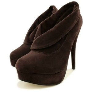 Womens Chocolate Suede Style Stiletto Heel Platform Ankle Shoe Boots (non-edible)