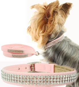 Crystal Dog Collars Susan Lanci Giltmore Puppy Pink 3 Rows