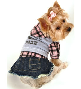 Dog Clothes Denim Flannel Dress Designer Pet Clothing