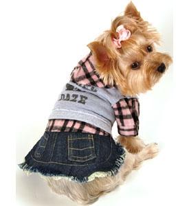 Dog Clothes Denim Flannel Dress Designer Pet Clothing