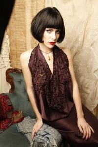 Elena Garcia 'Angelina' Silk Cutwork Dress (Deep Aubergine & Coral Red)