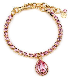 Pet Necklace With Gold/Pink Pear Pendant Australian Crystals Sparkly 14KT Gold Plate