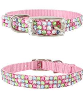 Swarovski Pet Collars Pink Multicolored Pastels Fancy Crystal Puppy Collar