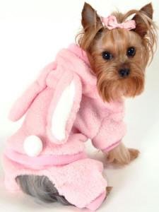 Dog Clothes Plush Pink Bunny Jumper Designer Pet Clothing