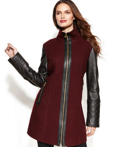 Michael Kors Coat, Wool-Blend Mixed-Media Colorblock