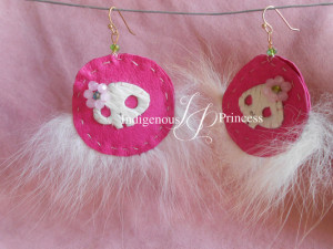 Pink Skull Fur Fan Earrings