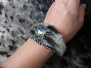 Soft Bangle in Sealskin, Abalone and Seed Bead
