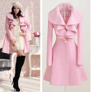 Fashion Women Girl Lady Trench Coat Jacket Parka Slim Fit Outerwear Overcoat