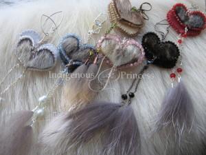 Swarovski Heart Dangle Earrings in Sealskin