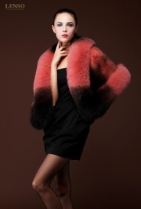 LENSO Mink Fur Cape - Fox Fur Trim
