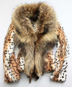 Leopard Inside Raccon Collar Rabbit Fur Coat Tiger