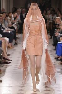 Powder pink lambskin strapless dress – White silk shirt dress – Pink tulle silk veil