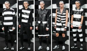 """The Good and the criminal"" White stripes by designer Bajowoo. Items featured at the 2014 runway show at Japan Fashion Week"
