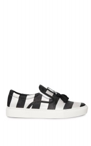Mother Of Pearl. Black Achilles Satin Stripe Slip On Sneakers with Tassels