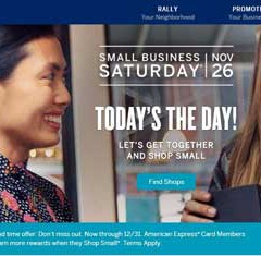 Small Business Saturday 11/26 Helps Consumers Find Ways to Go Local with American Express!