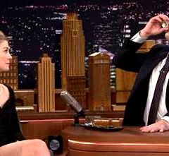 Jimmy Fallon and Rosamund Pike  Drink Shots of Jaegermeister During Tonight Show Game!