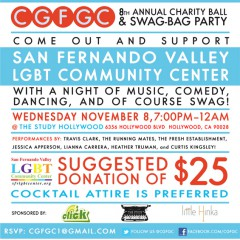 A $25 Donation to CGFGC Charity Ball & Swag Bag Party = Laughs, Music, Sips & Swag!  11/8!