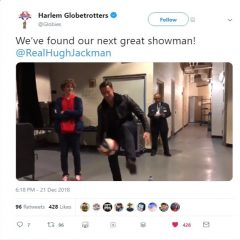 Harlem Globetrotters' Stars Give Actor Hugh Jackman a lesson in Hoops!