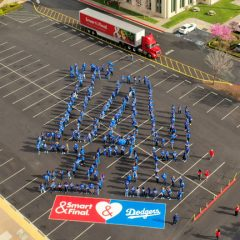 Smart & Final Employees Line Up in LA Dodgers Logo Formation for Opening Day!