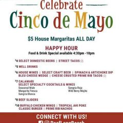 Cinco de Mayo — at the  Reef in Long Beach: Don't Miss the $5 Margaritas at this Oceanfront Celebration!!