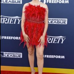 Meg Donnelly Sizzles in a Red Feather Mini + Dena Kemp Jewels at Variety's Power of Youth Event!