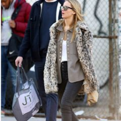 Jennifer Lawrence Rocks J.Crew's Leopard Faux Fur Coat in NYC !