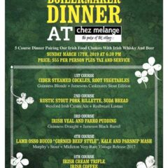 St. Patrick's Day Events: Don't Miss Chez Melange's  Boilermaker Dinner  on  3/17!!